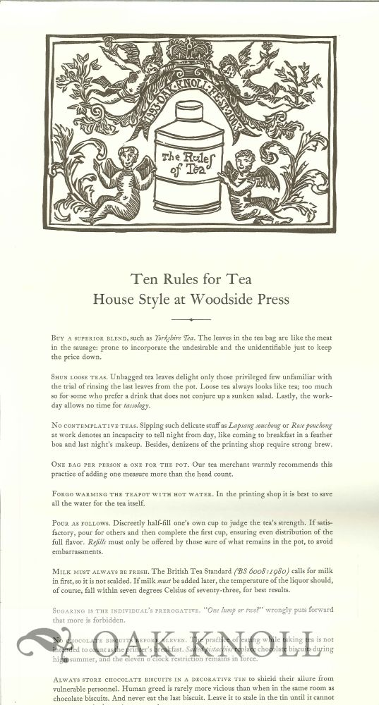 TEN RULES FOR TEA HOUSE STYLE AT WOODSIDE PRESS.