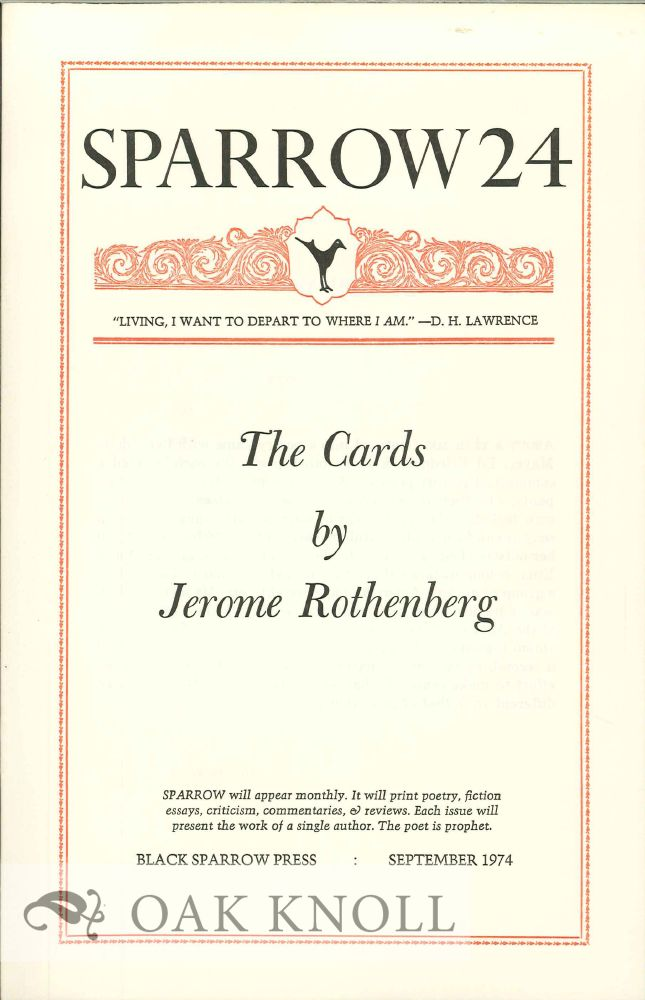 THE CARDS. SPARROW 24. Jerome Rothenberg.