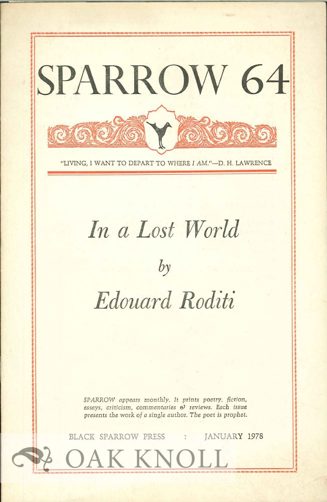 IN A LOST WORLD. SPARROW 64. Edouard Roditi.