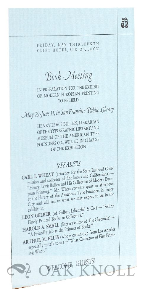 Announcement of Book Meeting in Preparation for the Exhibit of Modern European Printing.