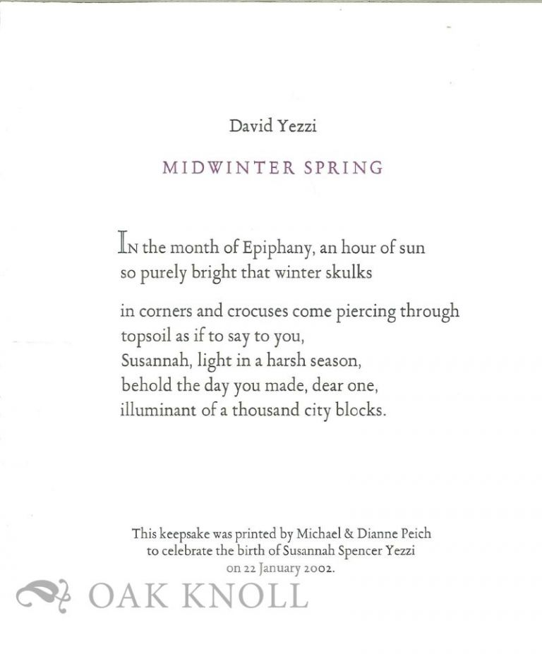 MIDWINTER SPRING. David Yezzi.