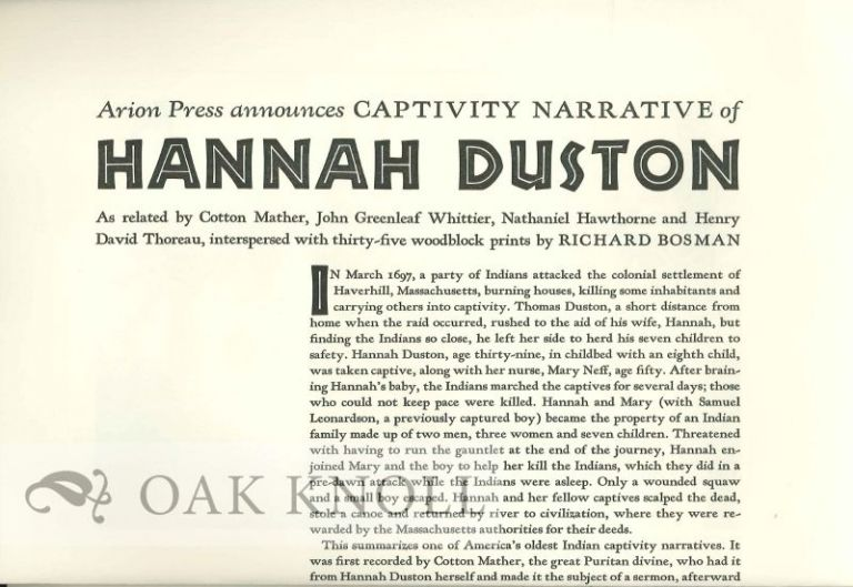 Prospectus for CAPTIVITY NARRATIVE OF HANNAH DUSTON.