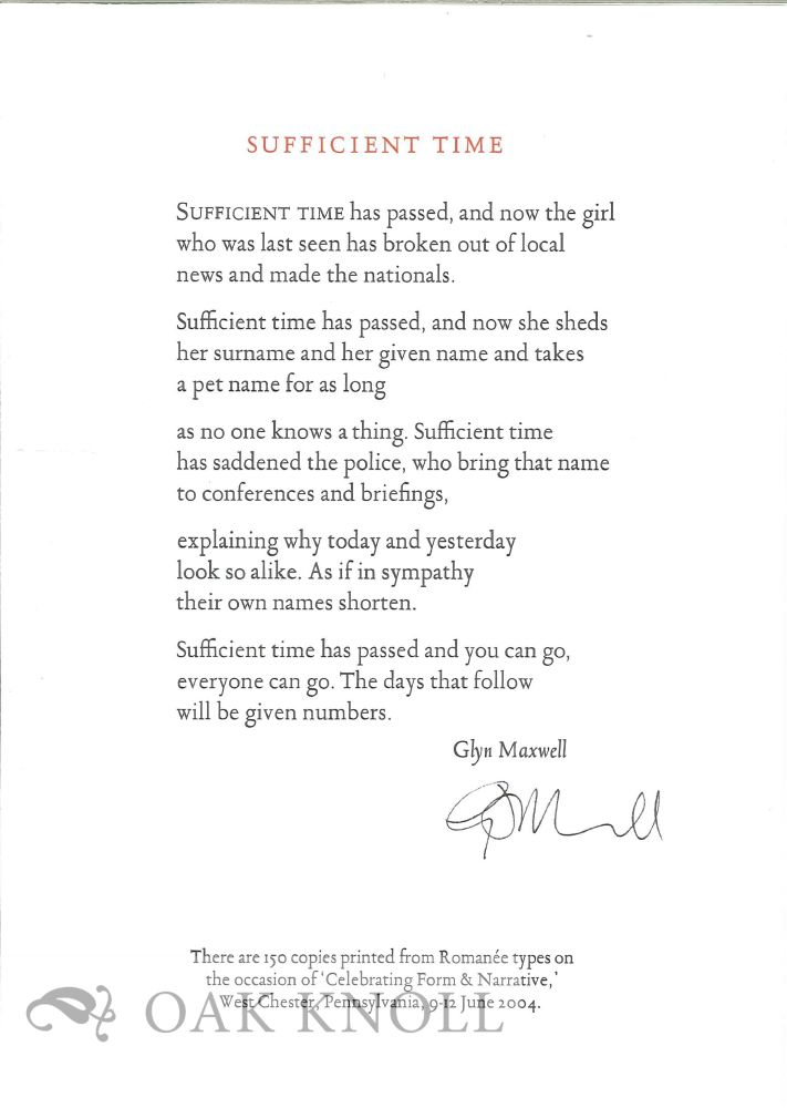 SUFFICIENT TIME. Glyn Maxwell.