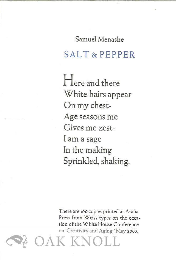SALT & PEPPER. Samuel Menashe.