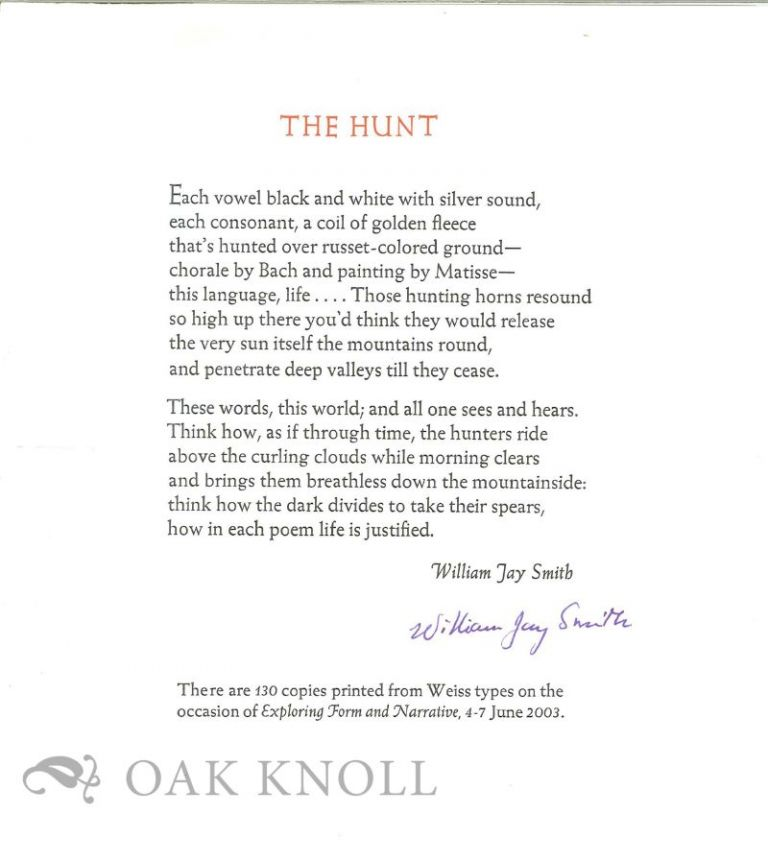 THE HUNT. William Jay Smith.