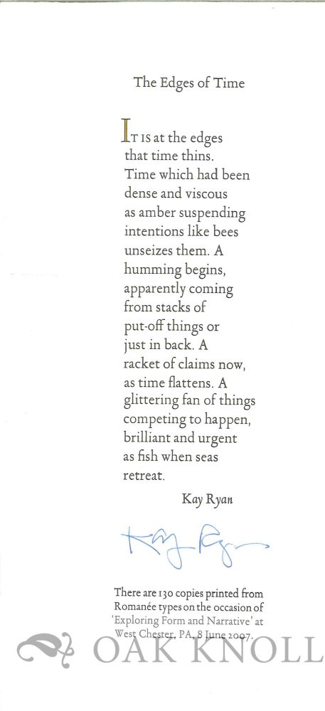 THE EDGES OF TIME. Kay Ryan.