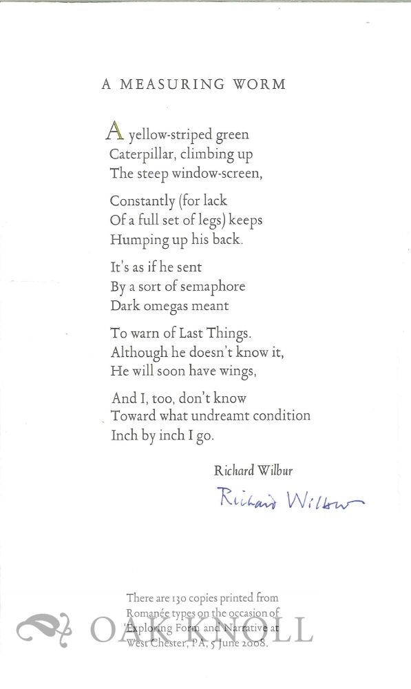A MEASURING WORM. Richard Wilbur.