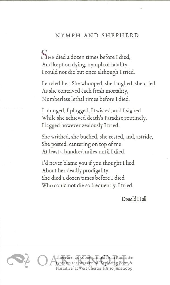 NYMPH AND SHEPHERD. Donald Hall.