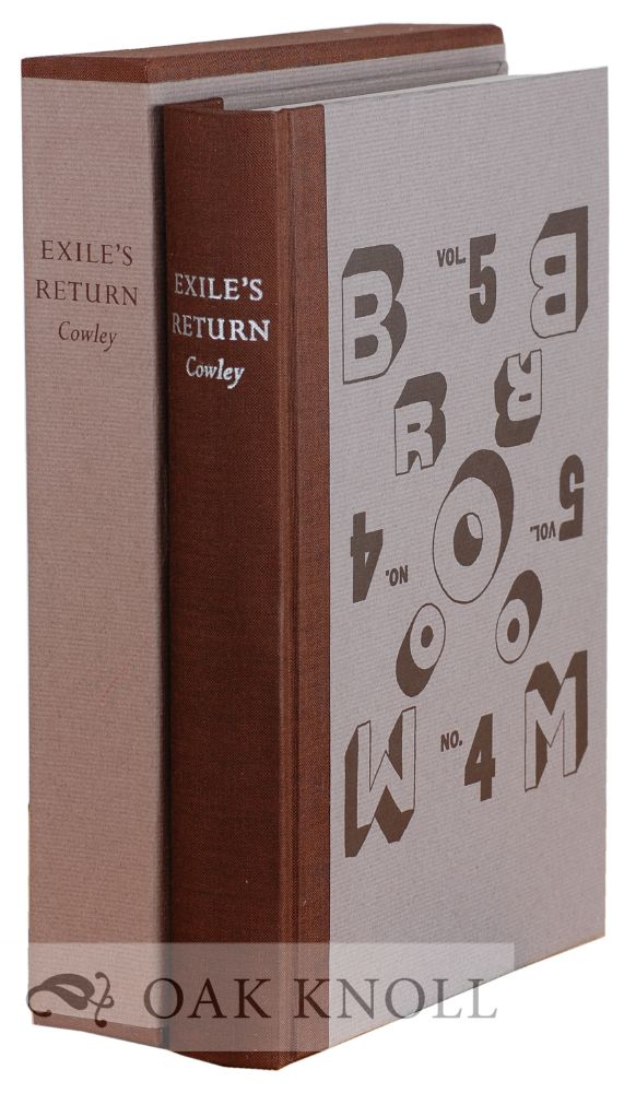 EXILE'S RETURN, A LITERARY ODYSSEY OF THE 1920'S. Malcolm Cowley.