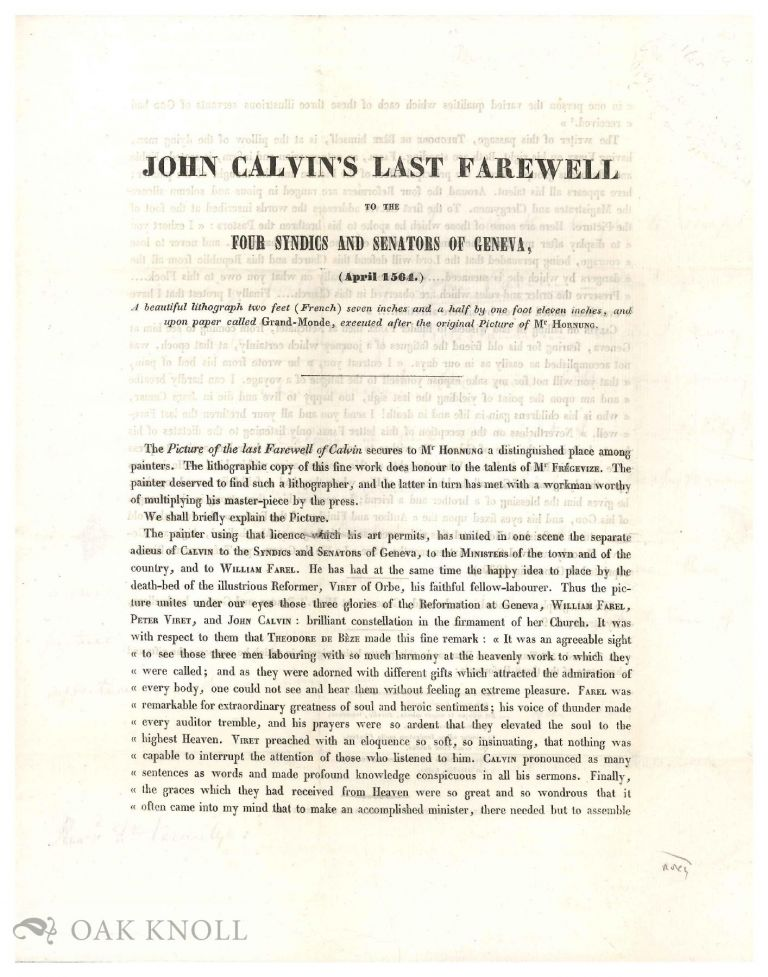 Letter from Cortland van Rensselaer to Thomas E. Vermilye, written on the prospectus for a lithographic portrait of John Calvin.