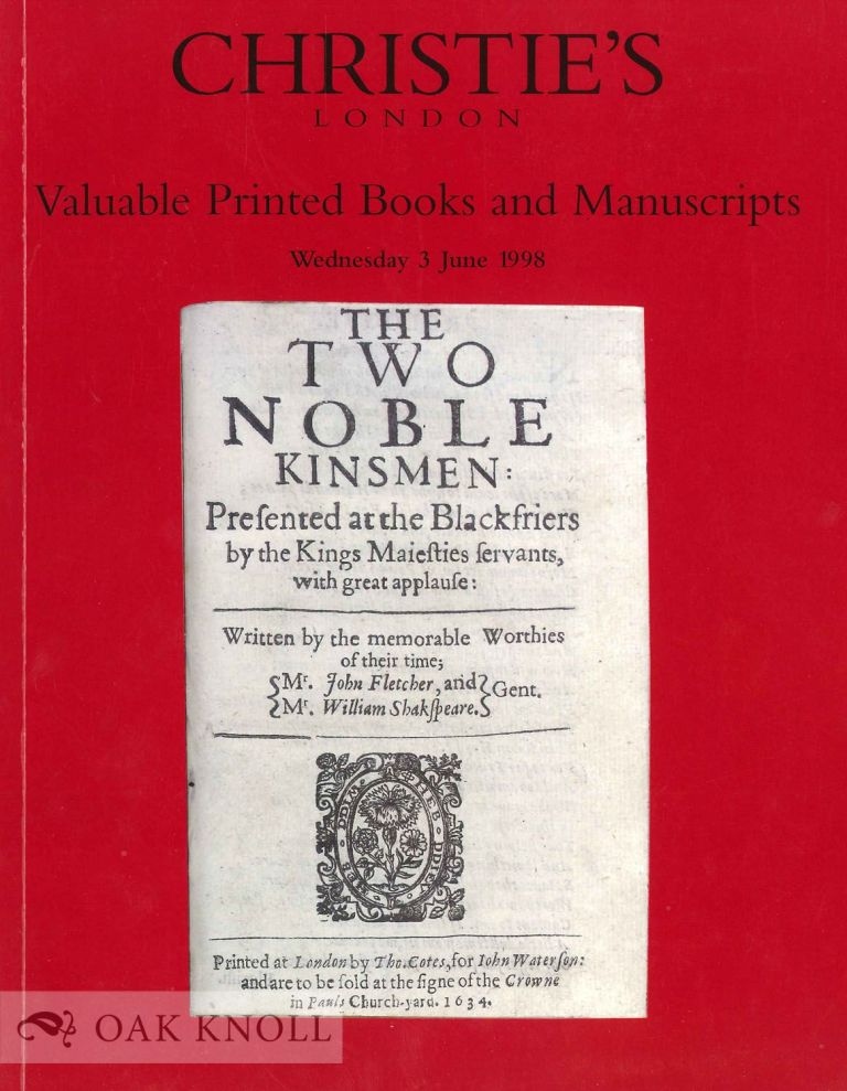 VALUABLE PRINTED BOOKS AND MANUSCRIPTS. Christie's.