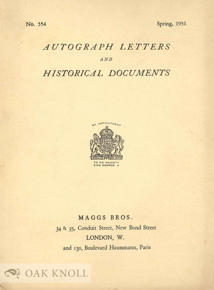 AUTOGRAPH LETTERS AND HISTORICAL DOCUMENTS. Maggs.