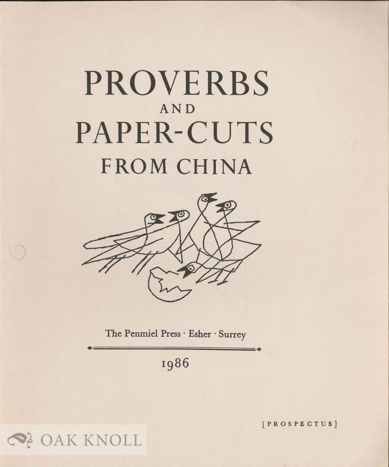 Prospectus for PROVERBS AND PAPER-CUTS FROM CHINA.