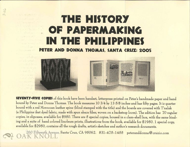 Prospectus for THE HISTORY OF PAPERMAKING IN THE PHILIPPINES. Peter Thomas, Donna2.