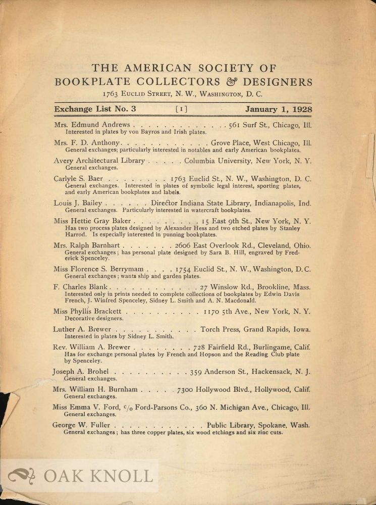 AMERICAN SOCIETY OF BOOKPLATE COLLECTORS AND DESIGNERS. EXCHANGE LIST.