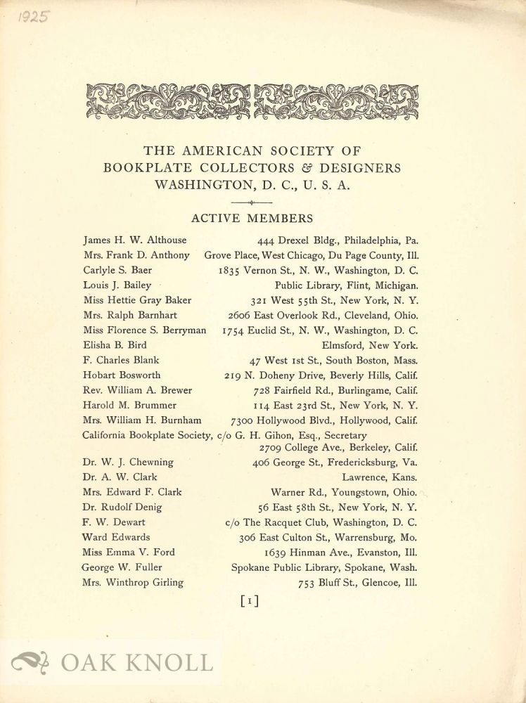 AMERICAN SOCIETY OF BOOKPLATE COLLECTORS AND DESIGNERS. MEMBER LIST.