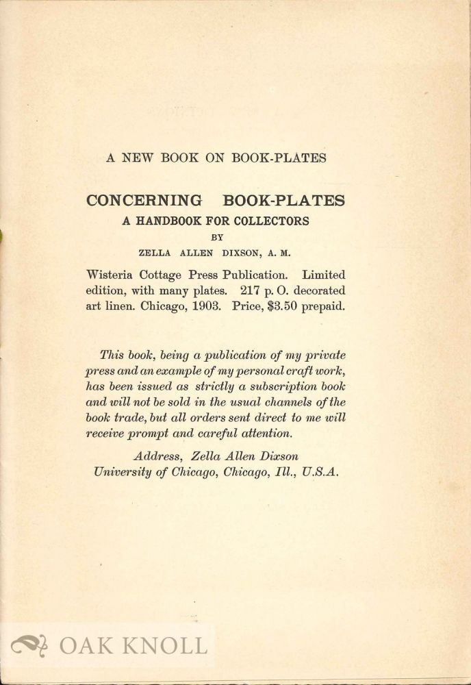 Prospectus for CONCERNING BOOK-PLATES: A HANDBOOK FOR COLLECTORS.