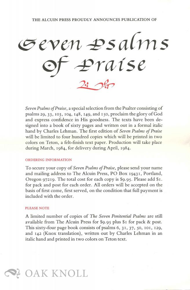 Prospectus for SEVEN PSALMS OF PRAISE.