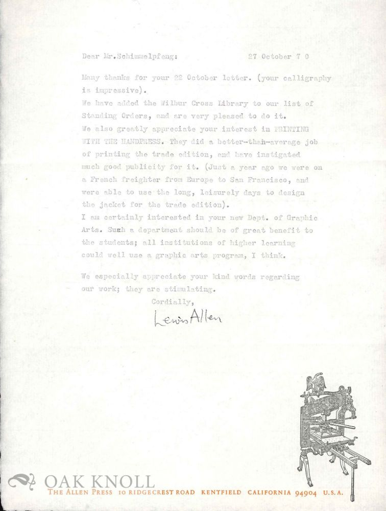 Four letters from Lewis Allen to Richard Schimmelpfeng. Lewis Allen.