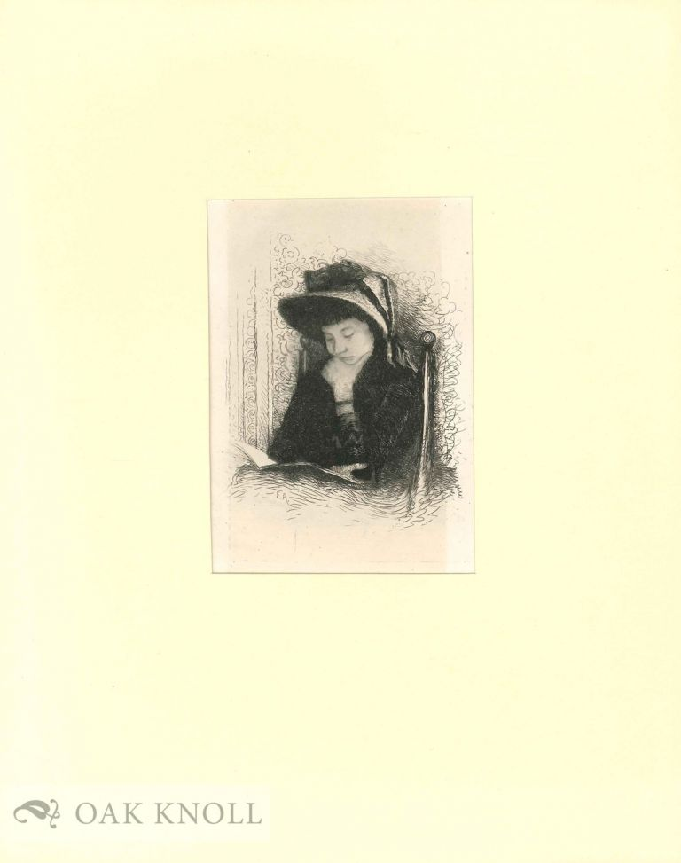 Etching of a woman reading. Frank Anderson.