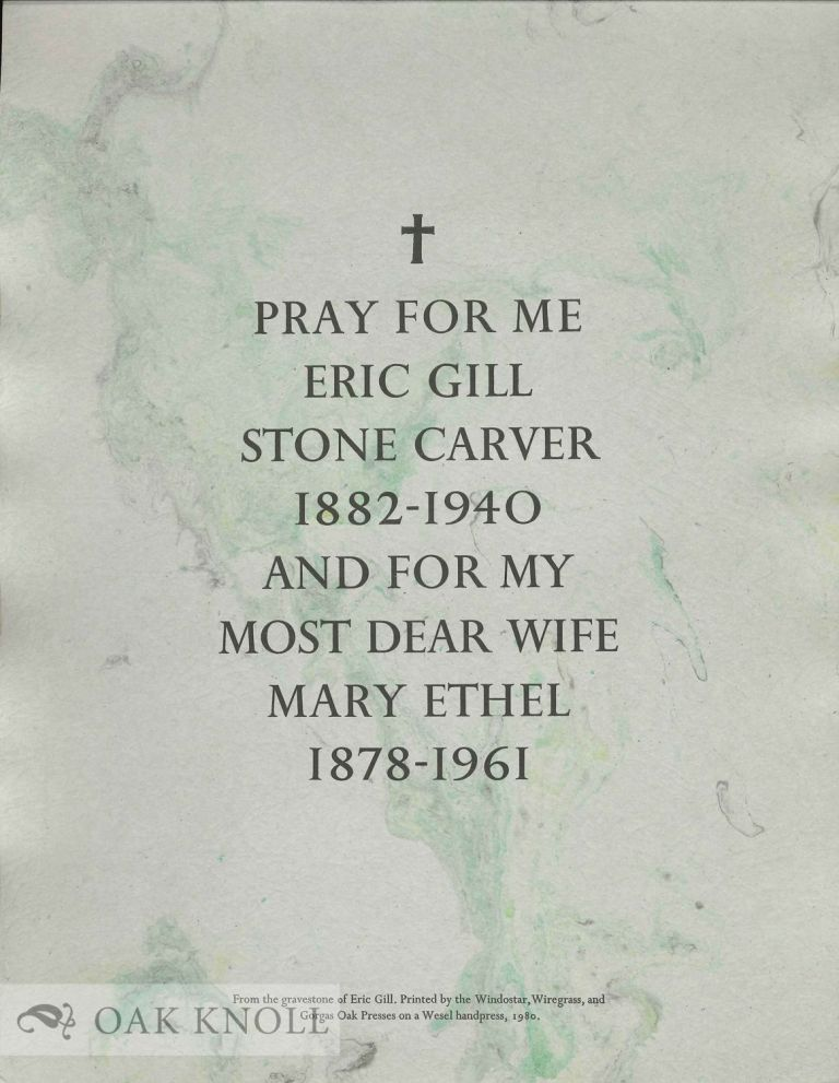PRAY FOR ME ERIC GILL STONE CARVER.