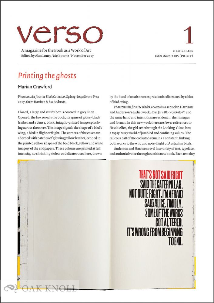 VERSO NEW SERIES 1: A MAGAZINE FOR THE BOOK AS A WORK OF ART. Alan Loney.