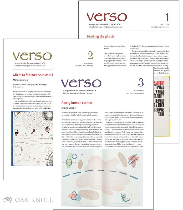 VERSO NEW SERIES: A MAGAZINE FOR THE BOOK AS A WORK OF ART (COMPLETE RUN). Alan Loney.