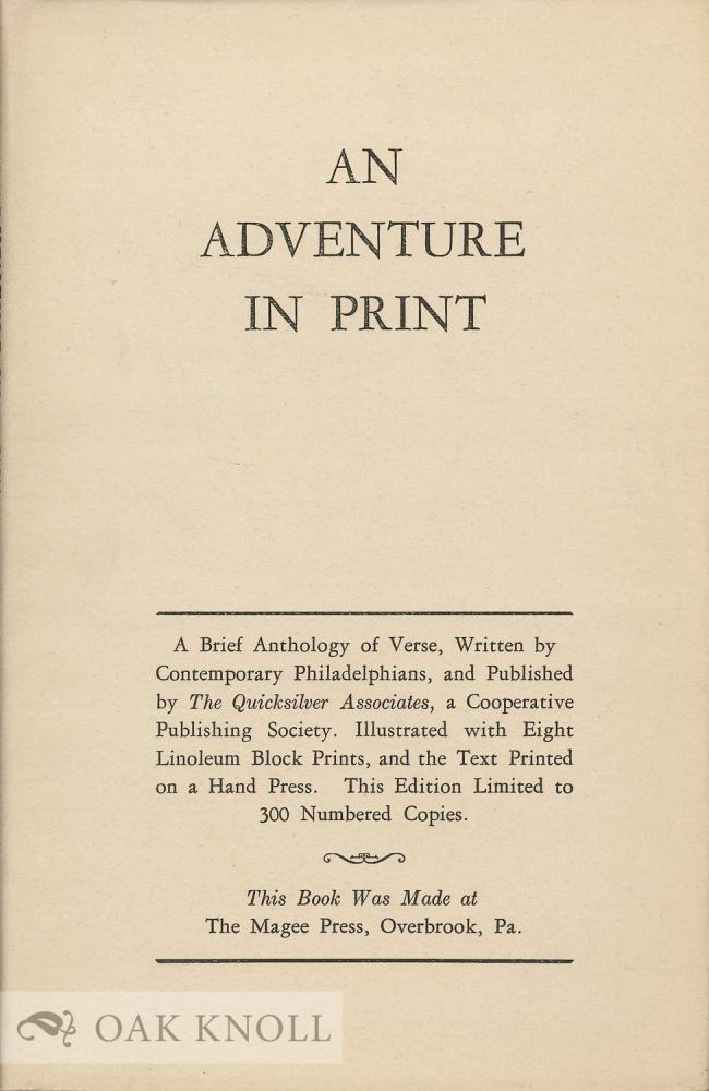 AN ADVENTURE IN PRINT: A BRIEF ANTHOLOGY OF VERSE.
