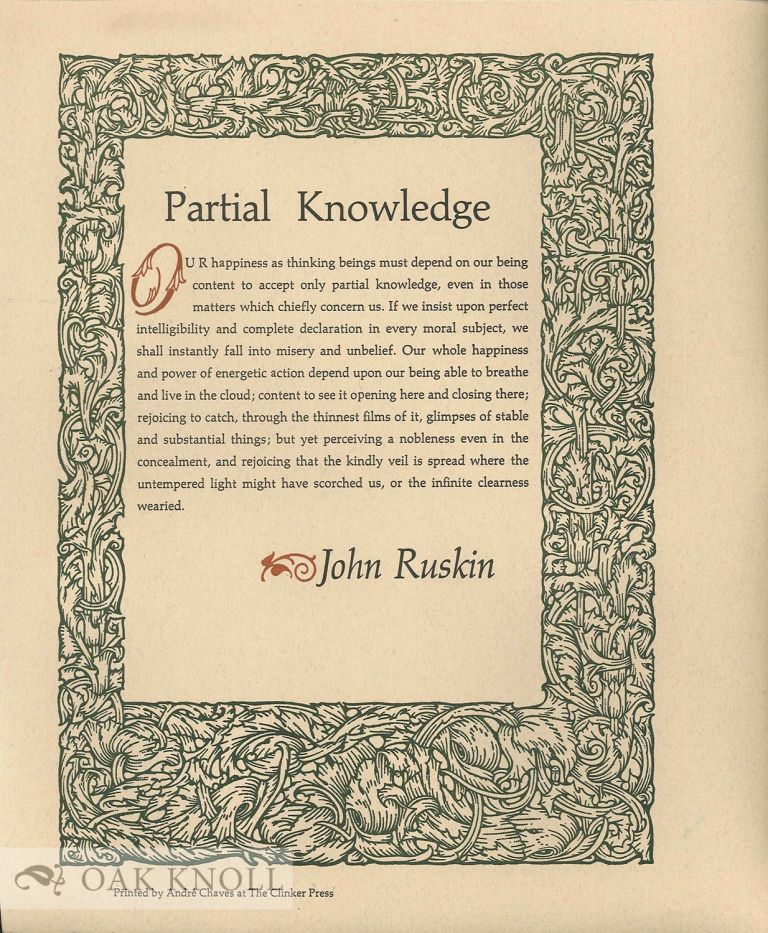 PARTIAL KNOWLEDGE. John Ruskin.