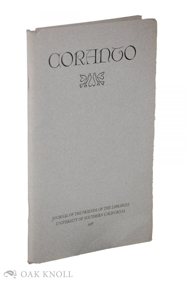 CORANTO: JOURNAL OF THE FRIENDS OF THE LIBRARIES.