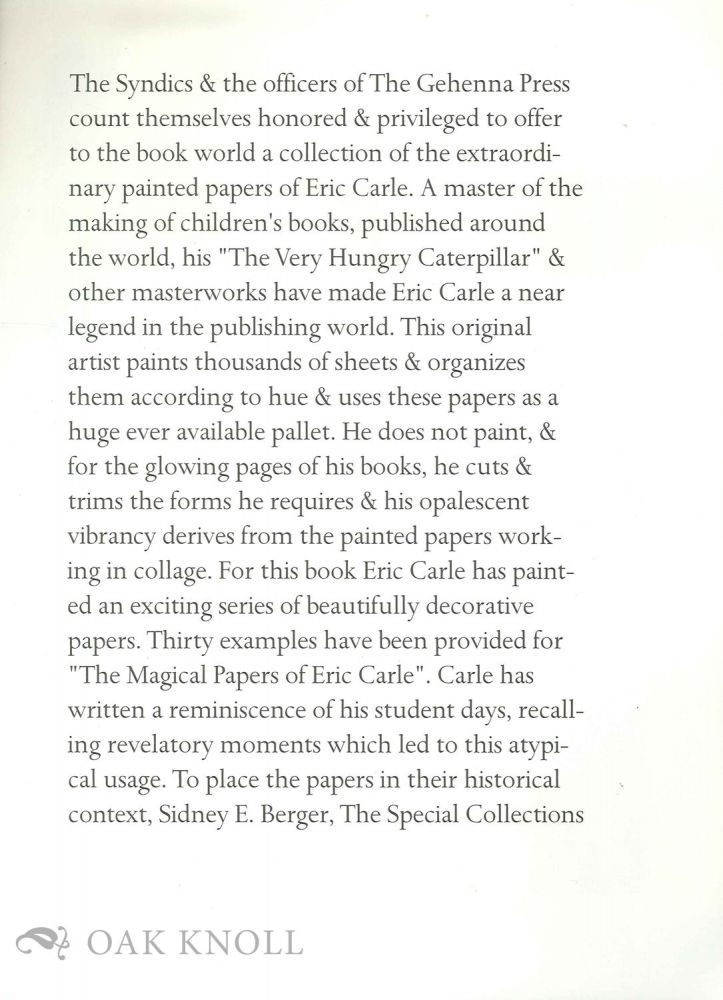 Prospectus for a collection of painter papers of Eric Carle.