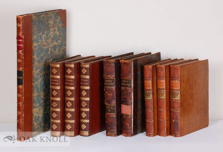 COMPLETE SET OF CAPTAIN JAMES COOK'S THREE VOYAGES, WITH ATLAS. Captain James Cook.