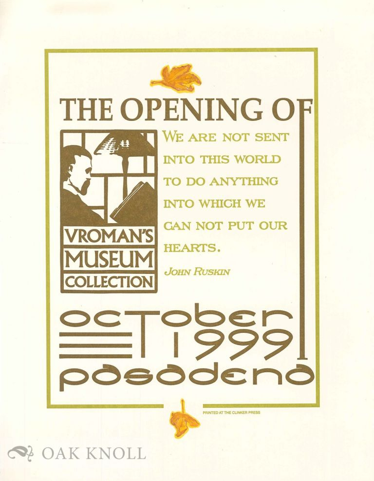 THE OPENING OF VROMAN'S MUSEUM COLLECTION.