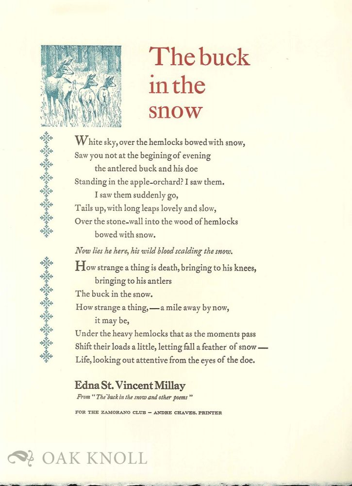 THE BUCK IN THE SNOW AND OTHER POEMS. Edna St. Vincent Millay.