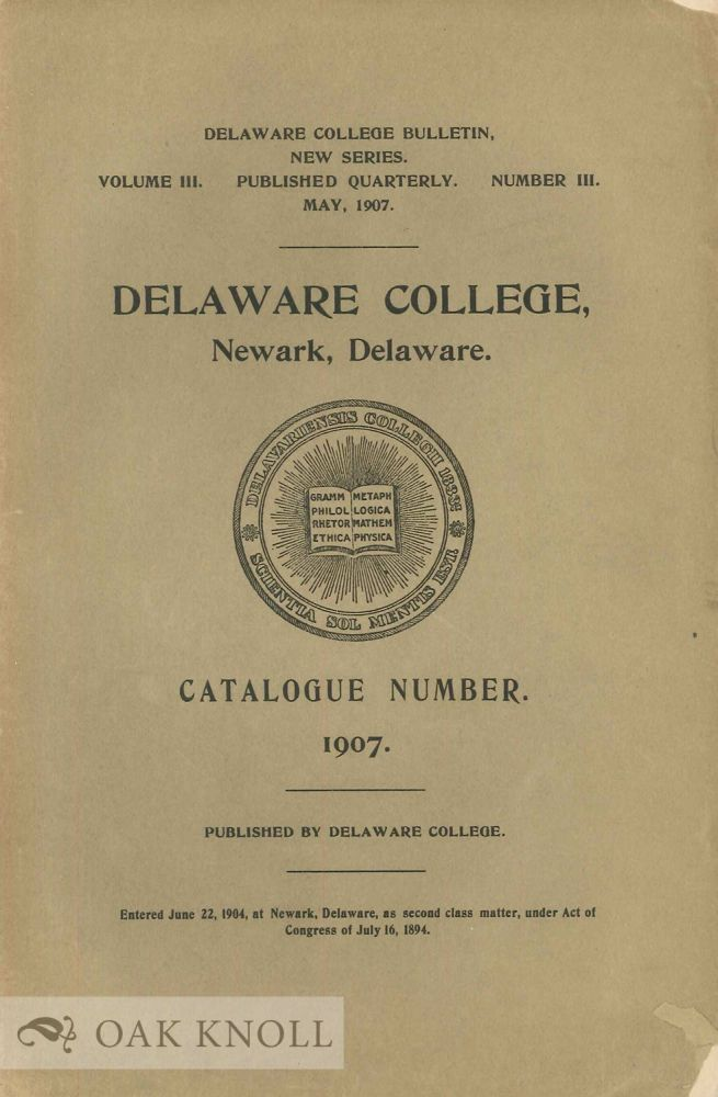 CATALOGUE OF THE OFFICERS AND STUDENTS OF DELAWARE COLLEGE.