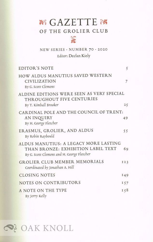 THE GAZETTE OF THE GROLIER CLUB, NEW SERIES, NUMBER 70. Declan Kiely.