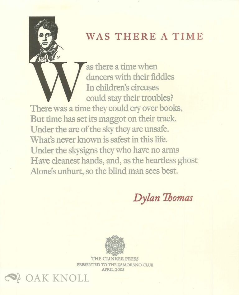 WAS THERE A TIME. Dylan Thomas.