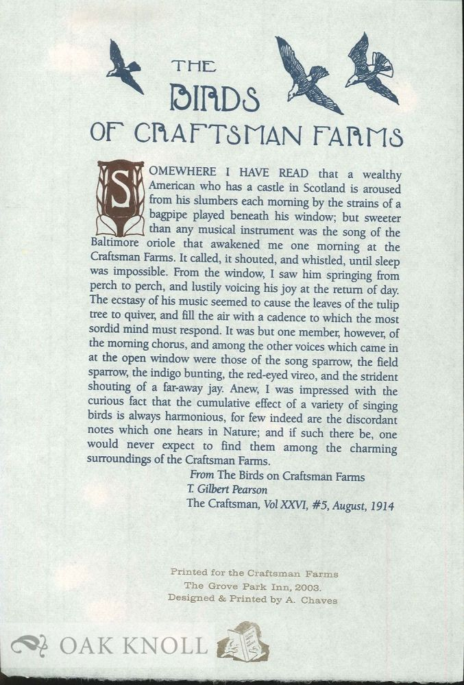 THE BIRDS OF CRAFTSMAN FARMS. T. Gilbert Pearson.