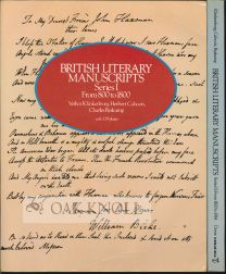 BRITISH LITERARY MANUSCRIPTS SERIES I, FROM 800-1800 AND SERIES II, FROM 1800-1914. Verlyn...