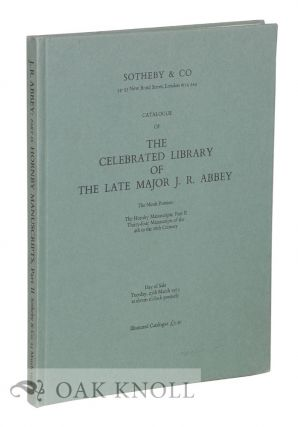 CATALOGUE OF THE CELEBRATED LIBRARY - ABBEY 9TH