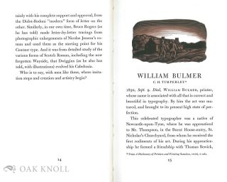 WILLIAM BULMER AND THE SHAKESPEARE PRESS A BIOGRAPHY OF WILLIAM BULMER FROM A DICTIONARY OF PRINTERS AND PRINTING BY C. H. TIMPERLEY, LONDON, 1839.