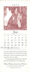 MARCHBANKS PRESS CALENDAR FOR JUNE, 1925