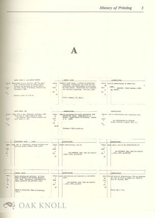 THE HISTORY OF PRINTING FROM ITS BEGINNINGS TO 1930; THE SUBJECT CATALOGUE OF THE AMERICAN TYPE FOUNDERS COMPANY LIBRARY IN THE COLUMBIA UNIVERSITY LIBRARIES.