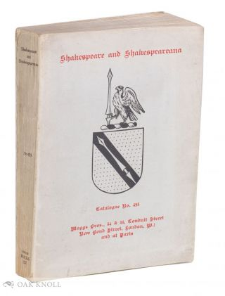 SHAKESPEARE AND SHAKESPEAREANA CATALOGUE 493. 493