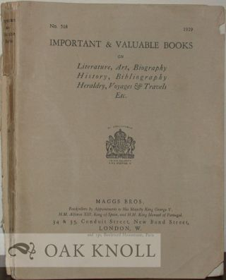 IMPORTANT & VALUABLE BOOKS ON LITERATURE, ART, BIOGRAPHY HISTORY, BIBLIOGRAPHY, HERALDRY, VOYAGES...
