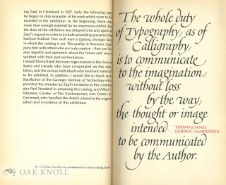 HERMANN ZAPF, CALLIGRAPHER, TYPE-DESIGNER AND TYPOGRAPHER AN EXHIBITION ARRANGED AND CIRCULATED BY THE CONTEMPORARY ARTS CENTER, CINCINNATI ART MUSEUM.