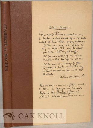 STARRETT VS. MACHEN, A RECORD OF DISCOVERY AND CORRESPONDENCE