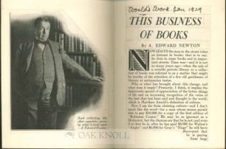 """ THIS BUSINESS OF BOOKS "" A. Edward Newton"