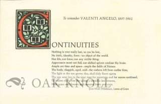 TO REMEMBER VALENTI ANGELO, 1897-1982. James Linden.