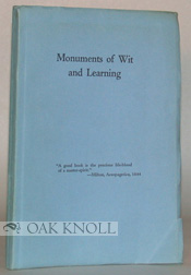 MONUMENTS OF WIT AND LEARNING